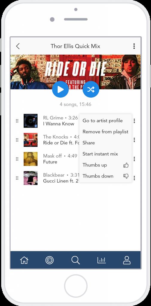 hi-fi media player playlist dropdown