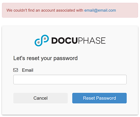 Password Reset Email Invalid